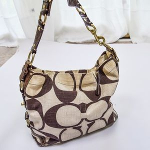 Coach Brown and Ivory Canvas Satchel Purse Bag